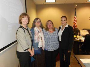 From left to right: Janet Walker and Bonnie Loiodice with Family Services of Southeast Texas and presenters Barbie Brashear and Katie Alexander